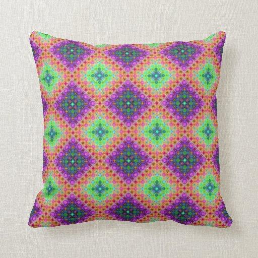 Purple & Lime Green Checkered Fractal Pattern Pillows