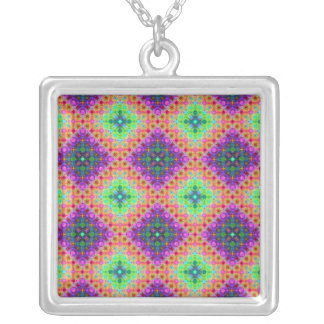 Purple & Lime Green Checkered Fractal Pattern Silver Plated Necklace