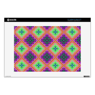 Purple & Lime Green Checkered Fractal Pattern Laptop Decals