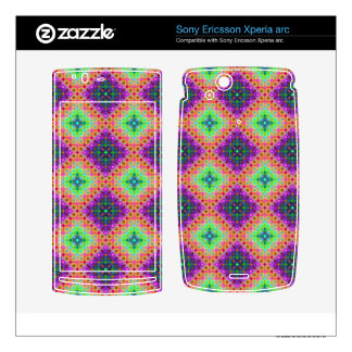 Purple & Lime Green Checkered Fractal Pattern Xperia Arc Skins