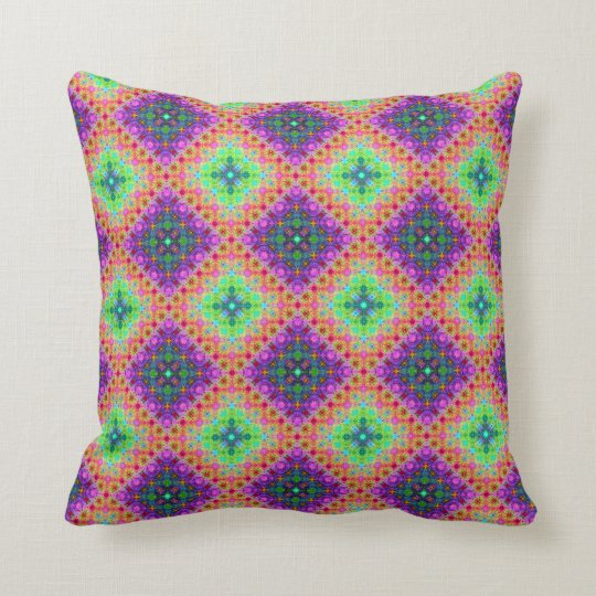 Purple & Lime Green Checkered Fractal Pattern Throw Pillow