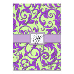 Purple & Lime Green Damask Wedding Invitations
