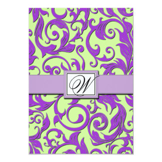 Purple & Lime Green Damask Wedding Invitations