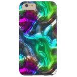 Purple Lime Green Pink Faux Glass 3D Waves Pattern Tough iPhone 6 Plus Case