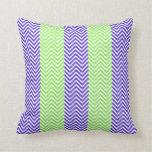 Purple Lime Green Striped Chevron Summer Zig Zags Pillow