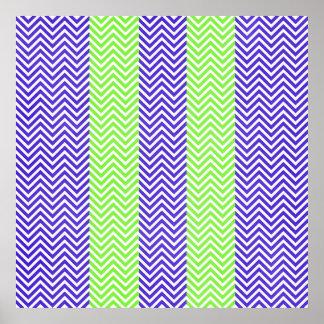 Purple Lime Green Striped Chevron Summer Zig Zags Poster