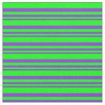 [ Thumbnail: Purple & Lime Lined Pattern Fabric ]