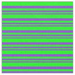 [ Thumbnail: Purple & Lime Lined Pattern Fabric ]