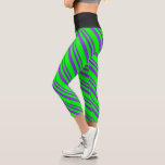 [ Thumbnail: Purple & Lime Lined Pattern Leggings ]