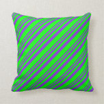 [ Thumbnail: Purple & Lime Lined Pattern Throw Pillow ]