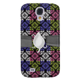 purple lime pink white black damask squares galaxy s4 case