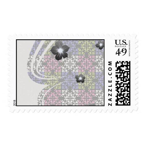 purple lime pink white black damask squares stamps