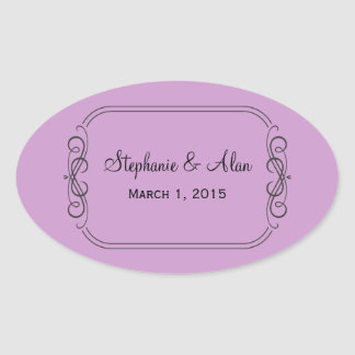 Purple Line Art Wedding Stickers