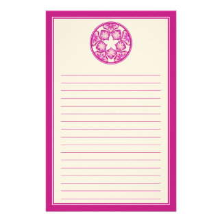 Purple Lined Decorative Floral Tiles Stationery