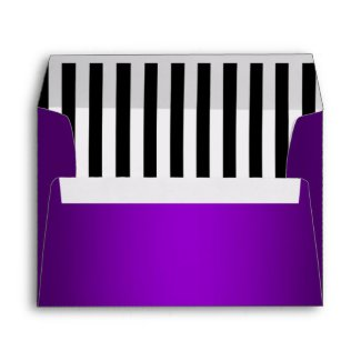 Purple Lined with Black and White Stripes envelope