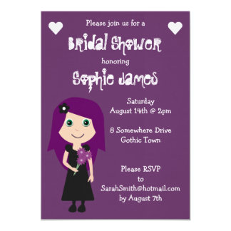 "Purple Linen Cute Gothic Bridal Shower 5"" X 7"" Invitation Card"
