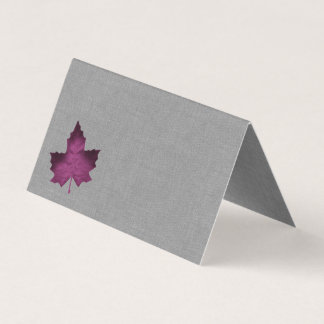 Purple Linen Folded Place Cards