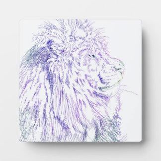 Purple Lion ~ 5.25 x 5.25 with Easel Plaque