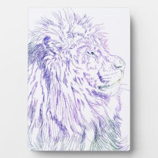 Purple Lion ~ 5x7 with Easel Plaque