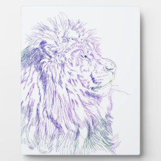 Purple Lion ~ 8x10 With Easel Plaque