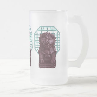 Purple Lion Dog Pixel Art Frosted Glass Beer Mug