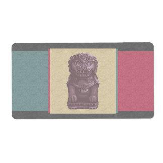 Purple Lion Dog Pixel Art Label