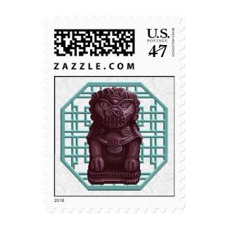 Purple Lion Dog Pixel Art Postage