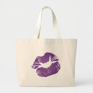 Purple Lips Large Tote Bag