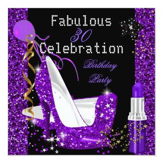 Purple Lipstick Glitter Heels Birthday Party Personalized Invites