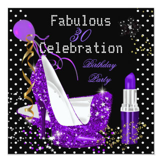 Purple Lipstick Glitter Heels Polka Dot Birthday Card