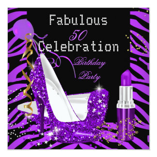 Purple Lipstick Glitter Heels Zebra Birthday Party Card
