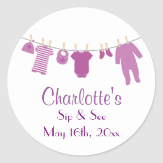 Purple Little Clothes Baby Sip and See Stickers
