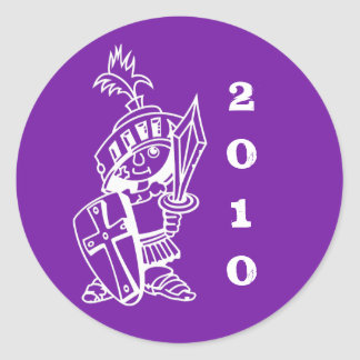 purple, little crusader 2010 classic round sticker