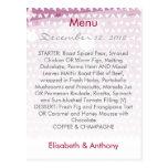 purple little hearts wedding menu postcard
