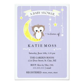 Purple Little Owl | Baby Shower Invitation