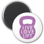 "Purple ""Live Love Lift"" 2 Inch Round Magnet"