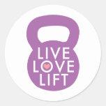 "Purple ""Live Love Lift"" Round Stickers"