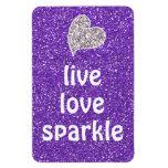Purple Live Love Sparkle Quote Rectangular Magnet