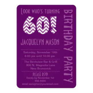 Purple Look Who's Turning 60 Birthday Invitation