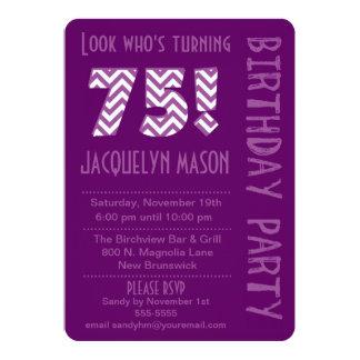 Purple Look Who's Turning 75 Birthday Invitation