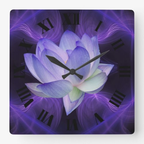 Purple Lotus and sacred geometry Square Wall Clock