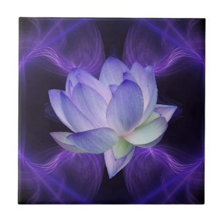 Purple Lotus and sacred geometry Tile