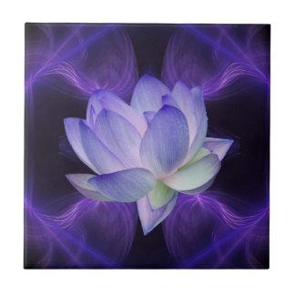 Purple Lotus and sacred geometry Ceramic Tile