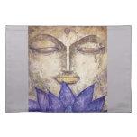 Purple Lotus Buddha Watercolor Art Cloth Place Mat