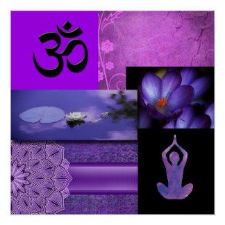 Purple Lotus & Crown Chakra Meditation Collage Poster