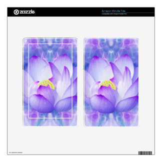 Purple lotus flower and fractal crystals decal for kindle fire