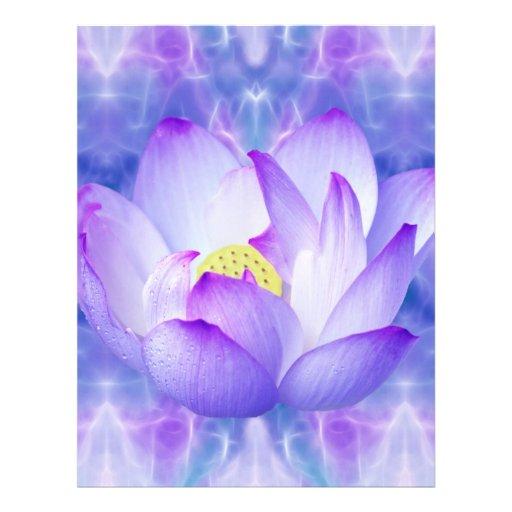 Purple lotus flower and fractal crystals customized letterhead