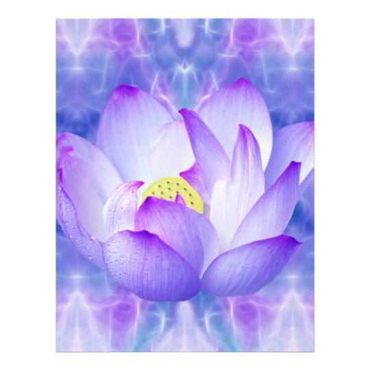 Purple lotus flower and fractal crystals letterhead