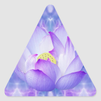 Purple lotus flower and fractal crystals triangle sticker