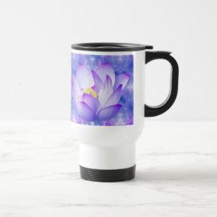 Purple lotus flower and fractal crystals travel mug